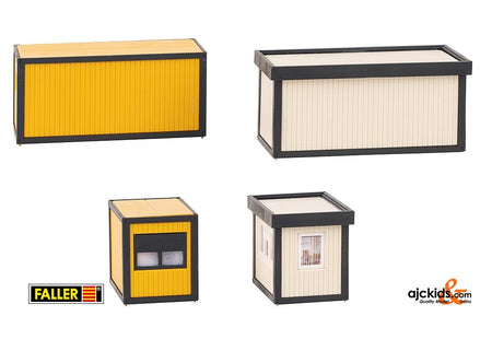 Faller 130136 - 4 Building site containers, black-yellow / grey-black