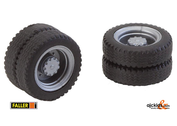 Faller 163103 - 2 wheels (twin tyres) NQ tyres and rims for lorries / various buses