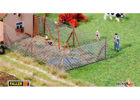 Faller 180414 - Wire mesh fence with wood poles, 340 mm