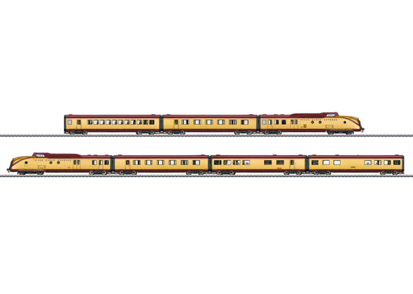 Marklin 37603 - TEE VT 11.5 Diesel Powered Rail Car Train 24-Karat Gold Plated (7-part train)