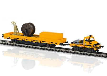 Marklin 39940 - Two-Way Unimog with a Catenary Installation Car in H0 Scale