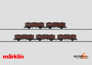 Marklin 46096 - Set with 5 Gondola Freight Cars in H0 Scale