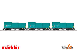 Marklin 46870 - SBB Cargo Type Shimmns Flat 3-Car Set w/Telescoping Covers Era VI in H0 Scale