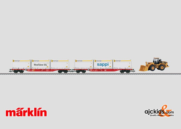 Marklin 47074 - Flat Car Set for Containers with WoodTainer Containers. in H0 Scale