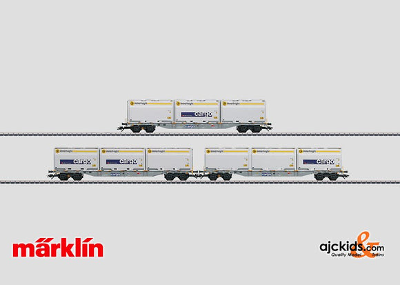 Marklin 47078 - Container Flat Car Set with WoodTainer XXL Containers - external box damage in H0 Scale