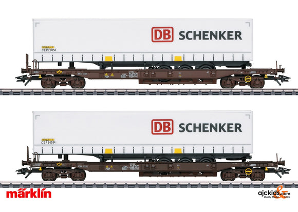 Marklin 47110 - DB Schenker Deep Well Flat Car Set in H0 Scale