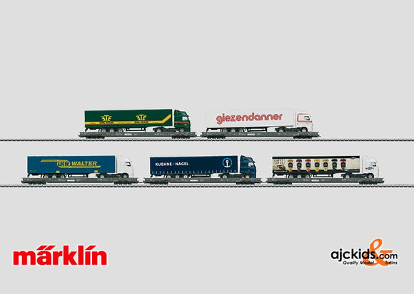 Marklin 47416 - Rolling Road Set with 5 Depressed Floor Flat Cars in H0 Scale