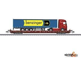 Marklin 47424 - Rolling Road Depressed Floor End Flat Car Benzinger