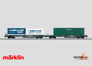 Marklin 47449 - Deep Well Flat Cars with containers. in H0 Scale