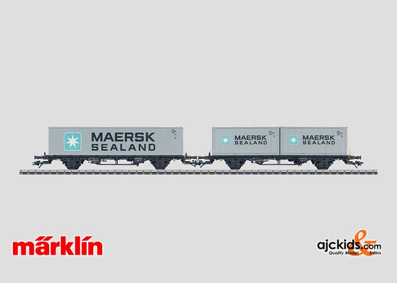 Marklin 47687 - Set with 3 Loaded Deep Well Flat Cars in H0 Scale