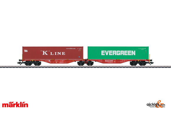 Marklin 47800 - K-Line Evergreen Double Container Transport Car in H0 Scale
