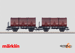 Marklin 48271 - Two class Okmm 38 flat cars with containers in H0 Scale