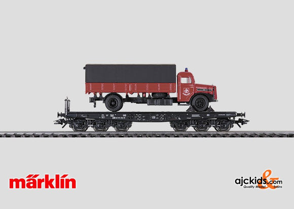 Marklin 48756 - Heavy-Duty Flat Car with Fire Department Truck.