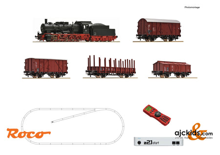 Roco 51318 - z21 start digital set: Steam locomotive class 057 with goods train