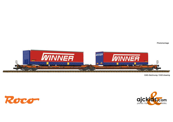 Roco 75889 - Articulated double pocket wagon T3000e + Winner Trailer #3 Display 75886