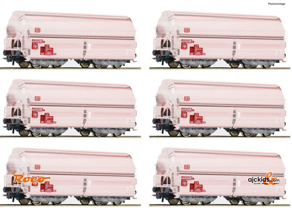 Roco 75938 12 piece display: Swing roof wagons DB-AG