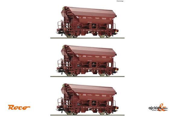 Roco 76179 3 piece set: Swing roof wagons SNCB