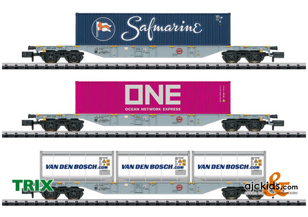 Trix 15228 - Container Flat Car Set