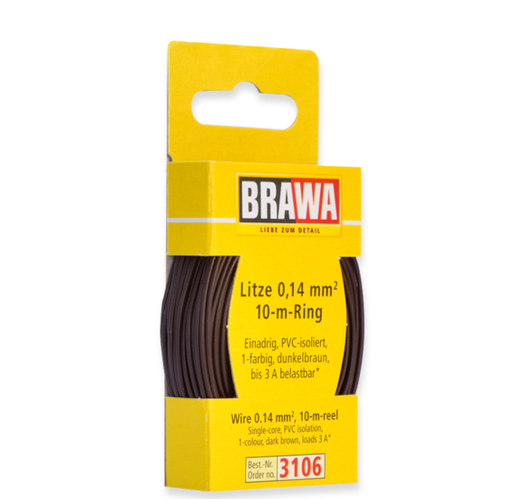 Brawa 3106 - Wire 0.14 MM² 10 m ring dark brown