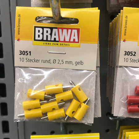 Brawa 3051 - Plug round yellow [10 pieces]
