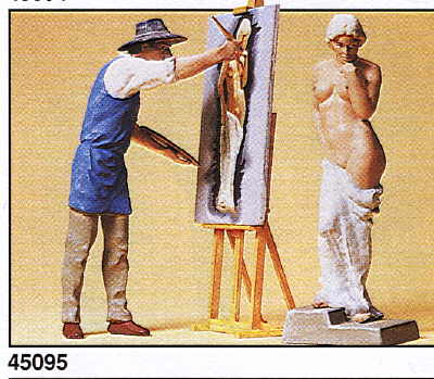 Preiser 45095 - Artist with Nude Model (2 pieces), EAN: 404103245095