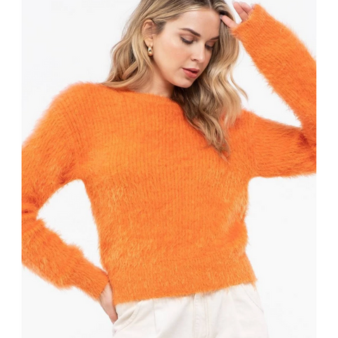 Fuzzy Extended Shoulder Sweater