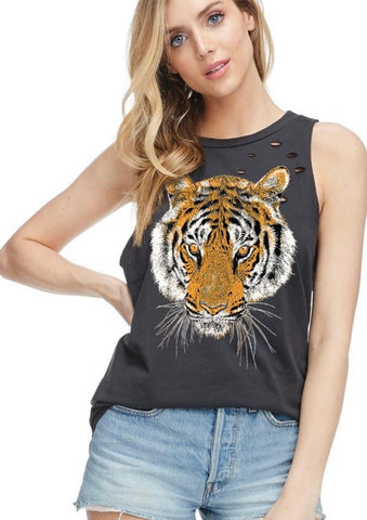 Oversized Distressed Tiger Tank - Charcoal