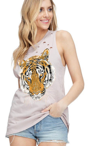 Oversized Distressed Tiger Tank - Blush