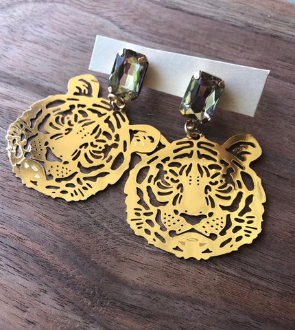 Gold Tiger Earrings