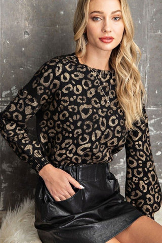 24K Gold Leopard Print Sweater