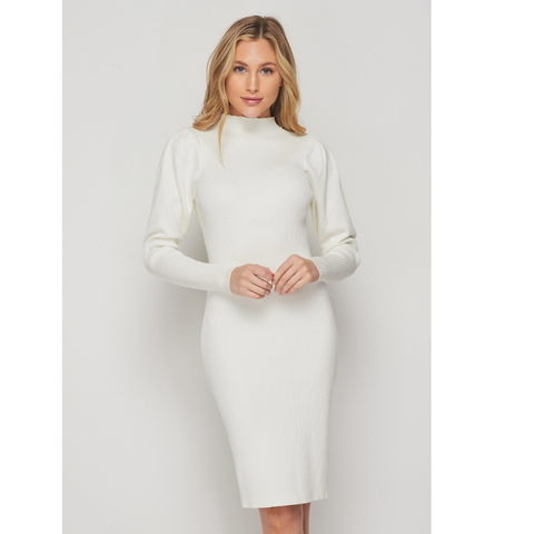K-Lo Dreamy Ivory Turtleneck Knit Dress