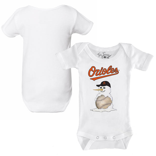 Baltimore Orioles Baseball Snowman Infant Short Sleeve Snapper