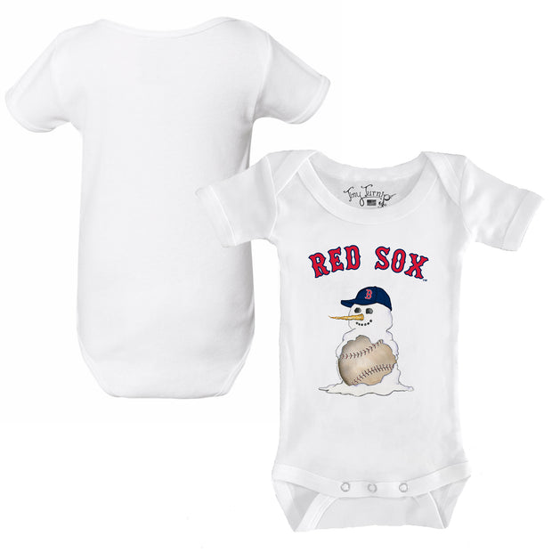 Boston Red Sox Baseball Snowman Infant Short Sleeve Snapper