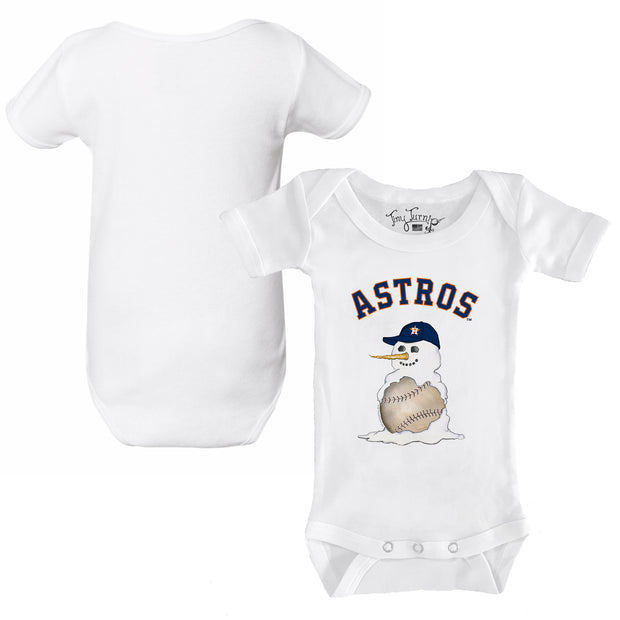 Houston Astros Baseball Snowman Infant Short Sleeve Snapper