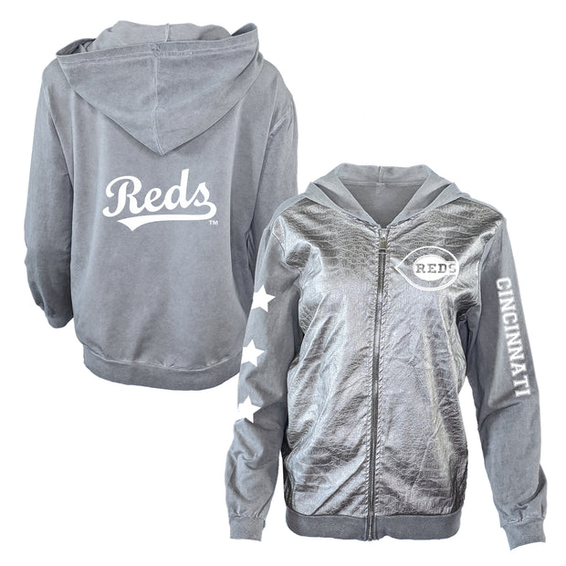 Cincinnati Reds Logo Women's Metallic Jacket