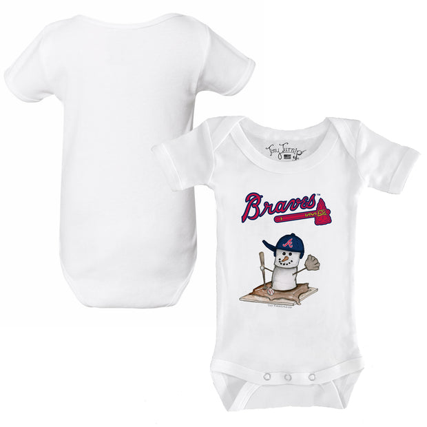 Atlanta Braves S'mores Snowman Infant Short Sleeve Snapper