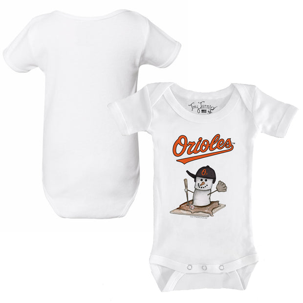 Baltimore Orioles S'mores Snowman Infant Short Sleeve Snapper