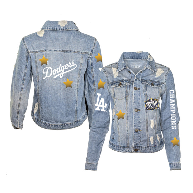 Los Angeles Dodgers 2020 World Series Champions Women's Distressed Denim Jacket