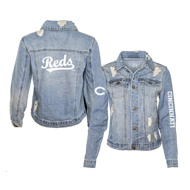 Cincinnati Reds Women's Distressed Denim Logo Jacket