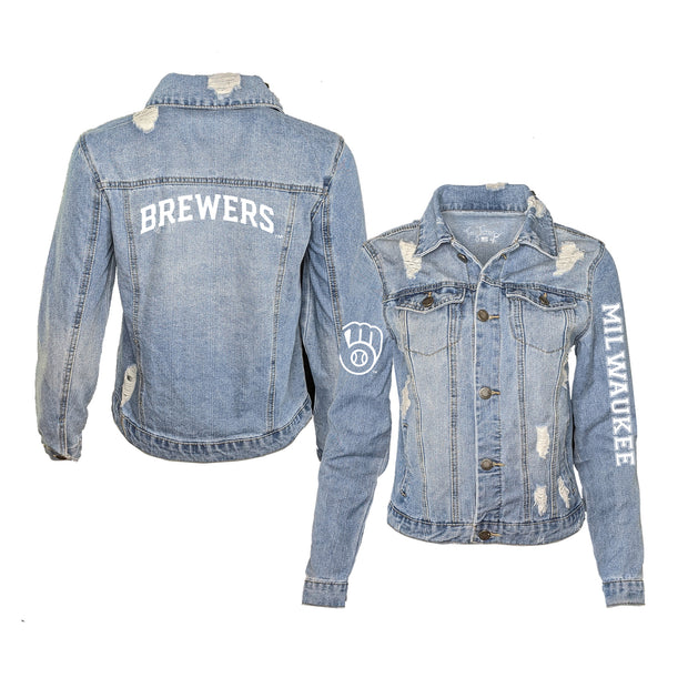 Milwaukee Brewers Women's Distressed Denim Logo Jacket