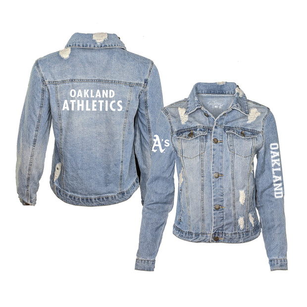 Oakland Athletics Women's Distressed Denim Logo Jacket