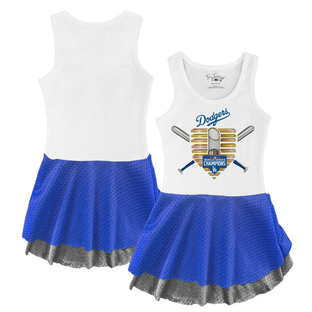 Los Angeles Dodgers 2020 World Series Champions Gold Base Double Mesh Tank Dress