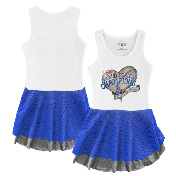 Los Angeles Dodgers 2020 World Series Champions Heart Double Mesh Tank Dress