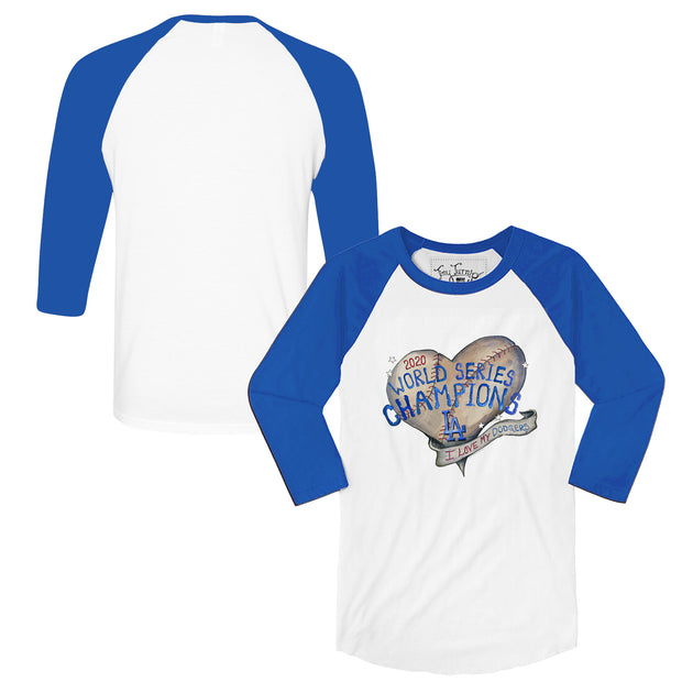Los Angeles Dodgers 2020 World Series Champions Heart 3/4 Sleeve Royal Raglan