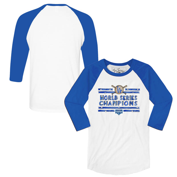 Los Angeles Dodgers 2020 World Series Champions Stars and Stripes 3/4 Sleeve Royal Raglan