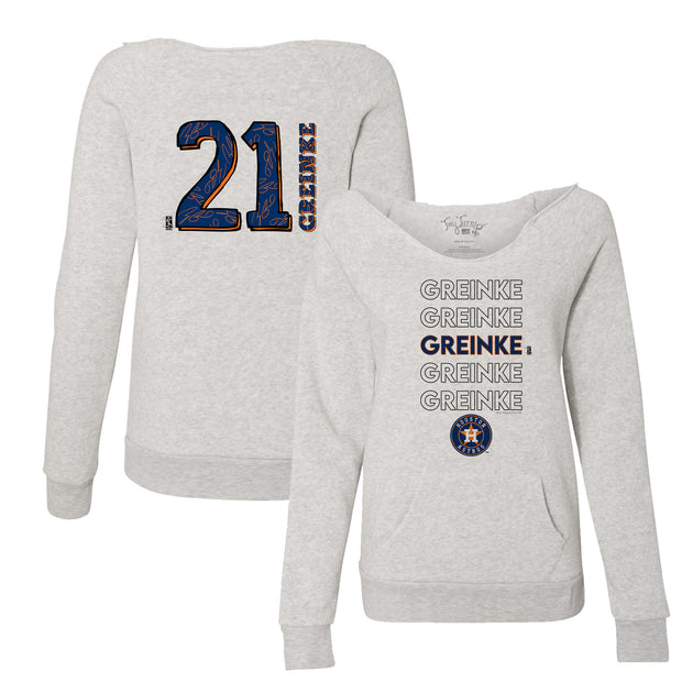 Houston Astros Zack Greinke Stacked Women's Slouchy Sweatshirt