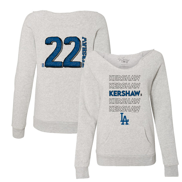 Los Angeles Dodgers Clayton Kershaw Stacked Women's Slouchy Sweatshirt
