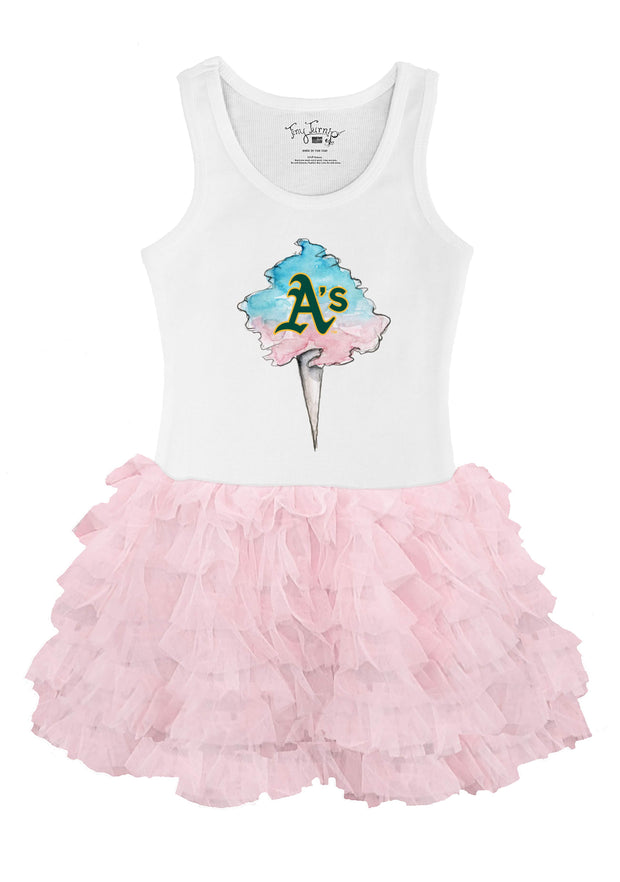 Oakland Athletics Toddler Cotton Candy Pink Ruffle Dress