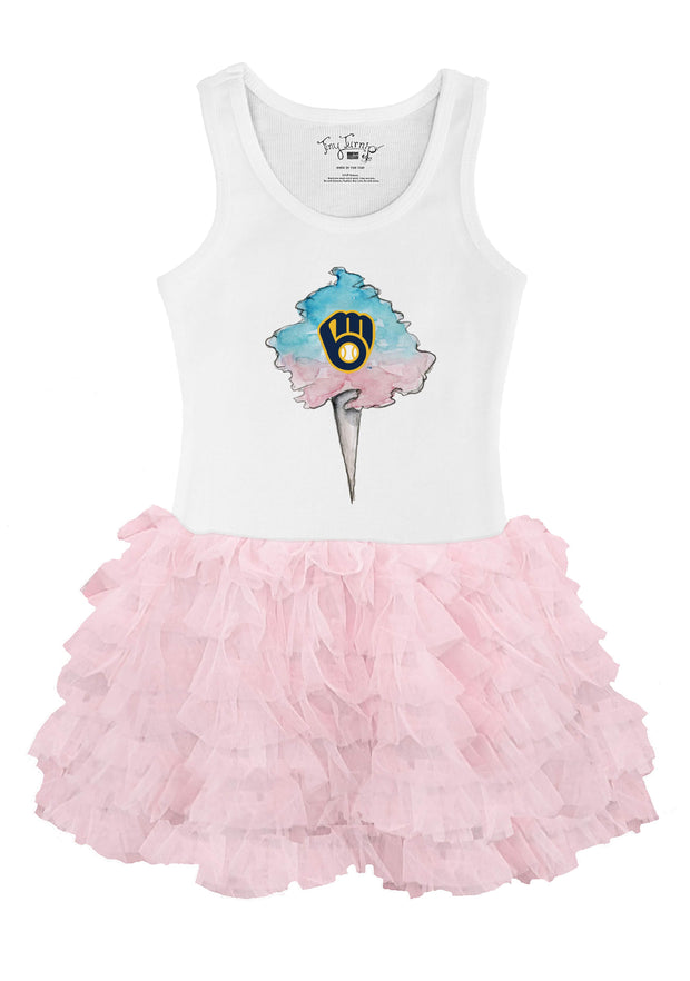 Milwaukee Brewers Toddler Cotton Candy Pink Ruffle Dress