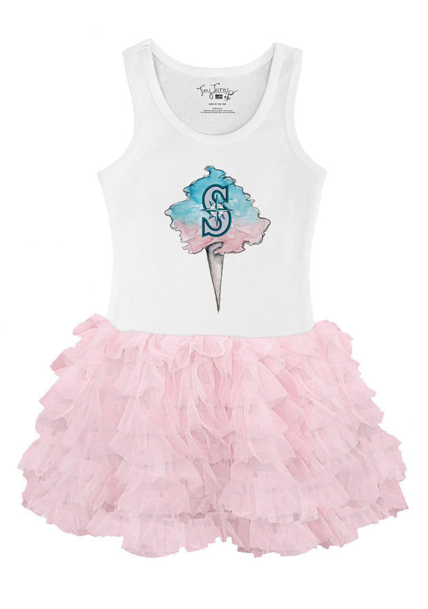 Seattle Mariners Toddler Cotton Candy Pink Ruffle Dress